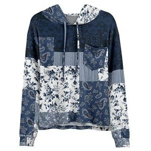 NWT Blue & White Floral Patchwork Pocket Hoodie